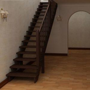Прямая деревянная лестница из березы, ДЛС-006