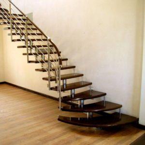 Прямая деревянная лестница модульная, ДЛС-009