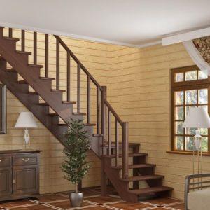 Г-образная деревянная лестница ДЛС-010