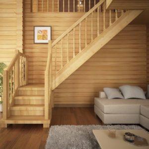 Г-образная деревянная лестница из сосны, ДЛС-011
