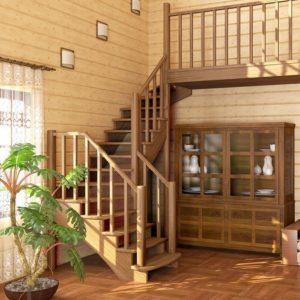 Г-образная деревянная лестница из дуба, ДЛС-012