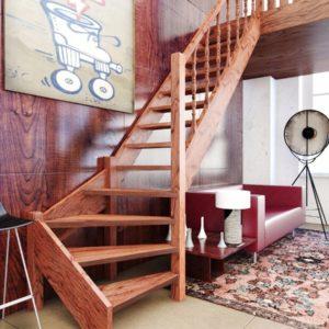 Г-образная деревянная лестница из лиственницы, ДЛС-014