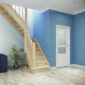 Г-образная деревянная лестница из березы ДЛС-015