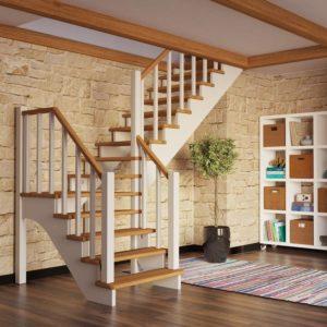 Г-образная деревянная лестница модульная, ДЛС-018