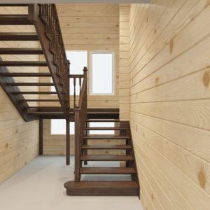 П-образная деревянная лестница с металлом, ДЛС-025