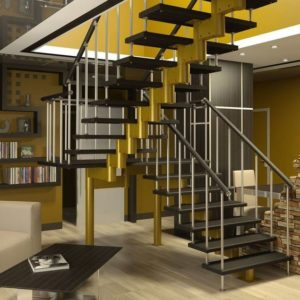 П-образная деревянная лестница модульная, ДЛС-027