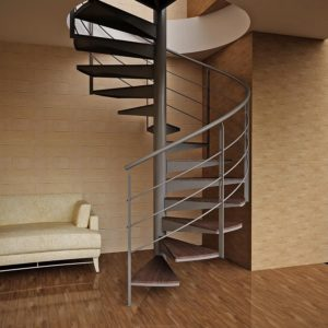 Винтовая деревянная лестница с металлом, ДЛС-034