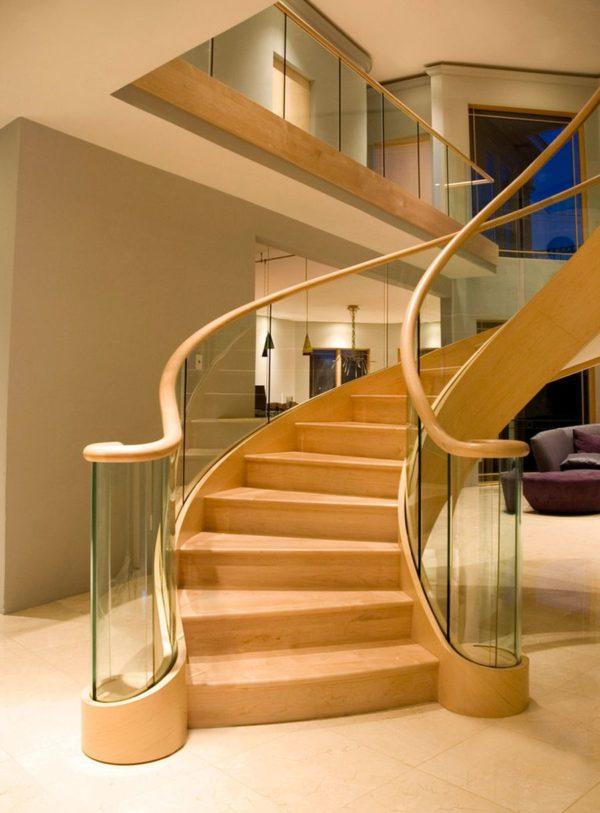 Винтовая деревянная лестница с стеклом, ДЛС-035