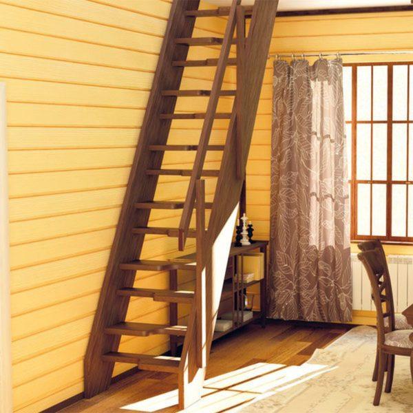 Чердачная деревянная лестница из сосны, ДЛС-038