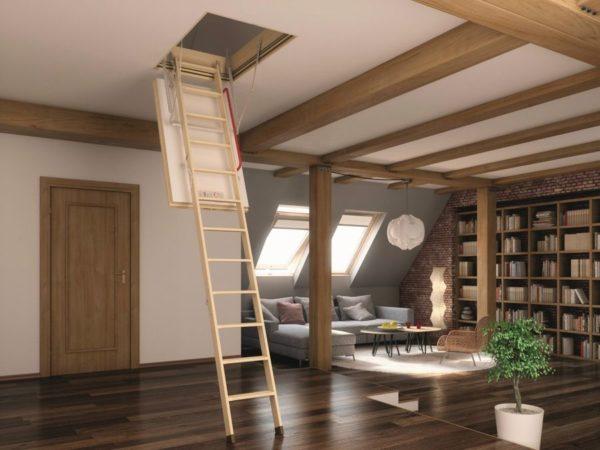 Чердачная деревянная лестница из ясеня, ДЛС-040