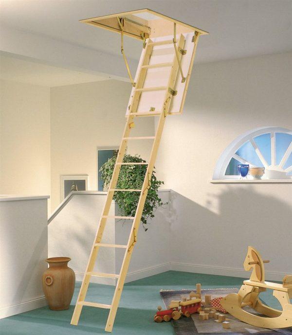 Чердачная деревянная лестница из березы, ДЛС-042