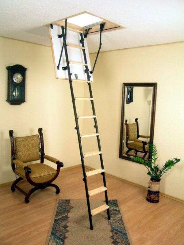 Чердачная деревянная лестница с стеклом, ДЛС-044