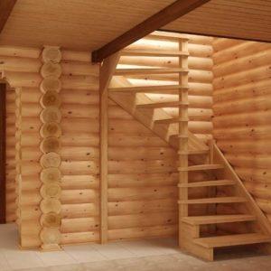 Малогабаритная деревянная лестница, ДЛС-046