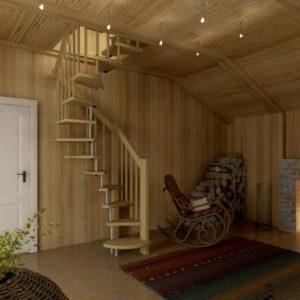 Малогабаритная деревянная лестница из сосны ДЛС-047