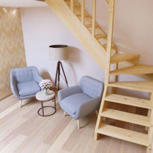 Малогабаритная деревянная лестница из дуба ДЛС-048