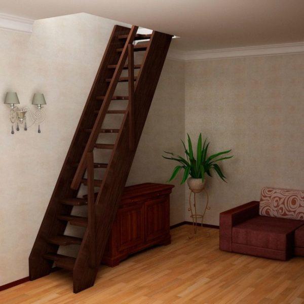 Малогабаритная деревянная лестница из ясеня, ДЛС-049