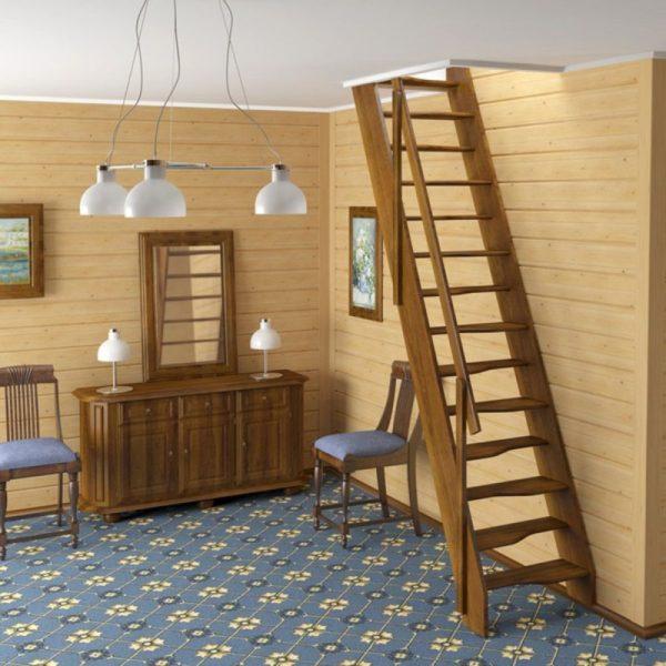 Малогабаритная деревянная лестница из березы, ДЛС-051