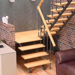 Малогабаритная деревянная лестница с металлом, ДЛС-052