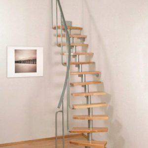 Малогабаритная деревянная лестница модульная, ДЛС-054