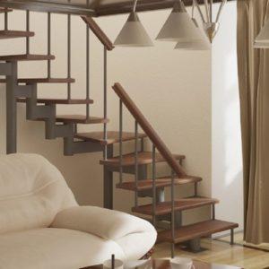 Лестница произвольной формы деревянная из дуба, ДЛС-057