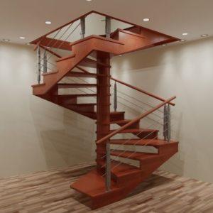 Лестница произвольной формы деревянная из лиственницы, ДЛС-059