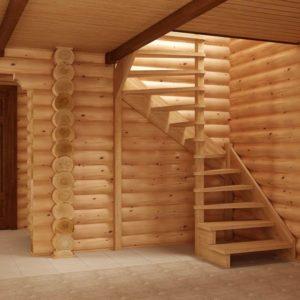 Лестница произвольной формы деревянная из березы, ДЛС-060