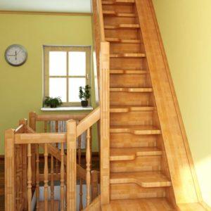 Лестница утиный шаг деревянная из сосны, ДЛС-065