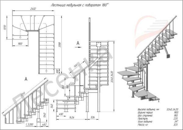 Модульная лестница Спринт, MOD-180-22