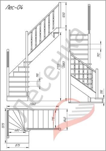 Деревянная межэтажная лестница ЛЕС-04