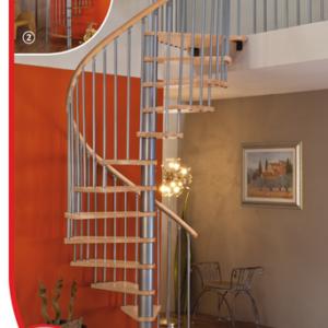 Винтовые лестницы MINKA Spiral Wood 140 бук, серебро